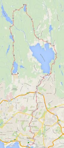 Kart over løypa vi hadde planlagt å løpe.