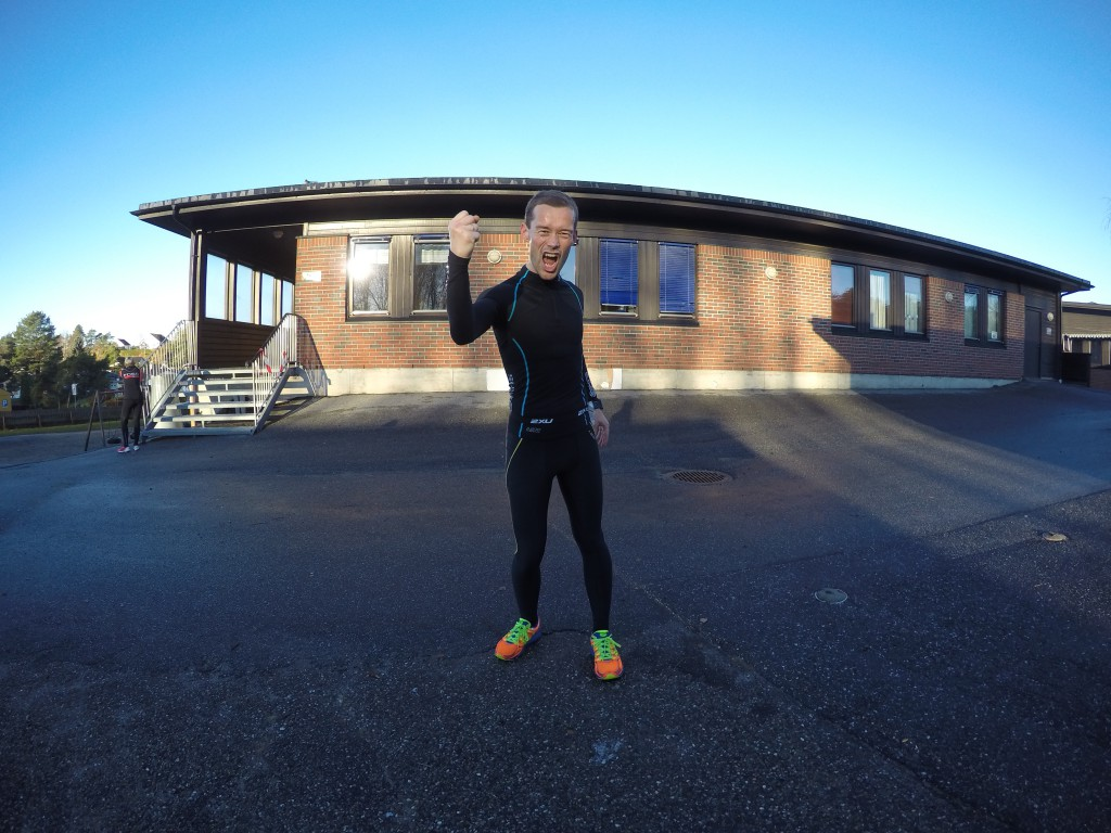En svært fornøyd løpegutt som nettopp har fullført Halden Ultraintervaller og 12 Ultra på norsk jord!